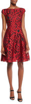 Talbot Runhof Longley Cap-Sleeve Fil Coupe Dress, Red/Black