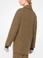 Michael Kors Houndstooth Shetland Wool Cocoon Jacket