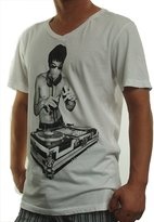 Bow & Arrow Mens Bruce Lee Dj Scratch T-Shirts White Medium, Cream Soda