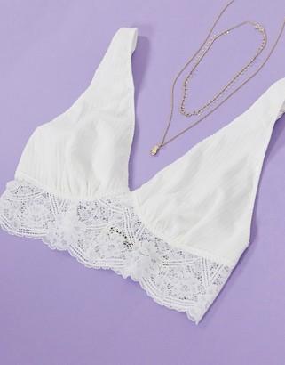 Free People teegan longline lace bralette in white