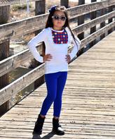 Beary Basics White Apple Top & Blue Leggings Set - Infant Toddler & Girls