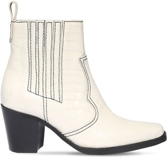 Ganni 90mm Croc Embossed Leather Ankle Boots