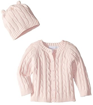 Elegant Baby Cable Cardigan and Hat Boxed Set (Infant) (Pink) Girl's Jumpsuit & Rompers One Piece