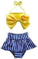 XUNYU Girls Baby Big Bowknot Stripe 2 Pieces Skirt Swimwear Bikini Sets