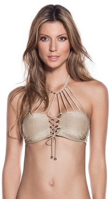 OndadeMar Women's Gold Every Day Criss Cross Strappy Bikini Top XS