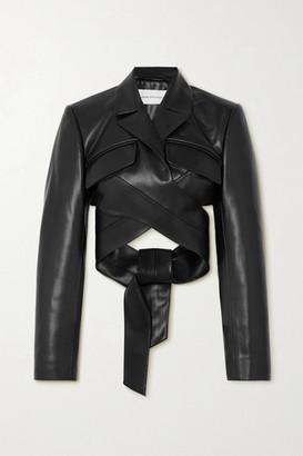 ALEKSANDRE AKHALKATSISHVILI Cropped Faux Leather Wrap Jacket - Black