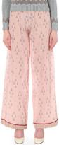 Valentino Geometric-print wide-leg silk-crepe trousers