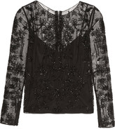 Badgley Mischka Beaded tulle top
