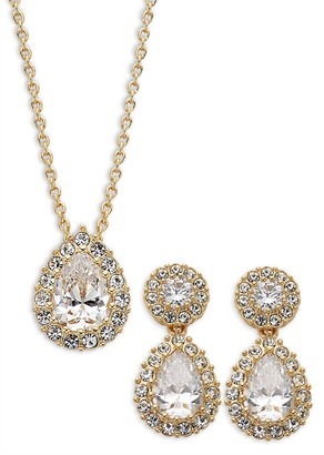 Adriana Orsini Goldtone Crystal Pendant Necklace Drop Earrings Set