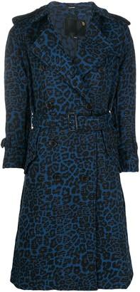 R 13 Leopard Print Belted Coat
