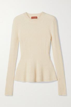 Altuzarra Frankie Ribbed Cashmere Peplum Sweater - Ivory