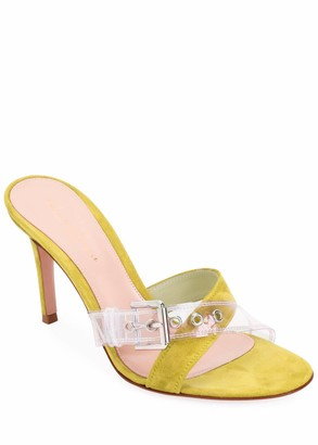 Gianvito Rossi Suede Sandals with Plexi Buckle