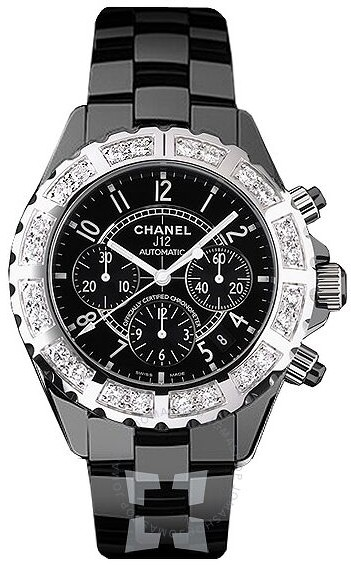 Chanel J12 Black Ceramic Diamond Chronograph Automatic Men's Watch