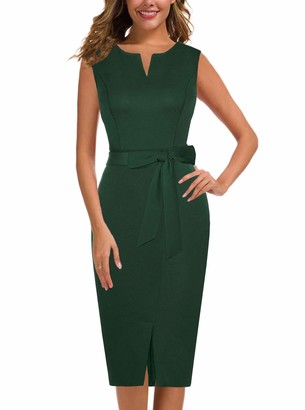 Moyabo Chic Vintage Sleeveless V Neck Belt Tie Waist Business Office Work Pencil Dress Green XX-Large