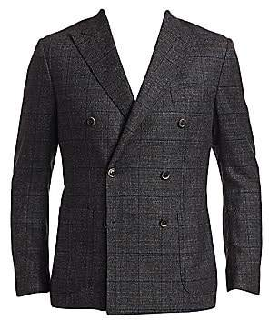 Saks Fifth Avenue Double-Breasted Muted Plaid Basketweave Sportcoat