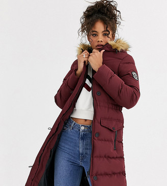 White Horse Brave Soul Tall padded long jacket with faux fur trim hood-Red