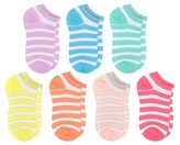 Circo Girls' Metallic Stripe No-Show Socks 7 pk Multicolored