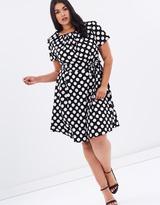 Spot Chiffon Tea Dress