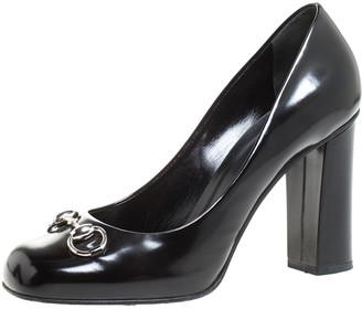 Gucci Black Leather Horsebit Block Heel Pumps Size 39