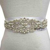 ShinyBeauty Rhinestone Applique,Crystal Bridal Sash,Diamante Bridal Wedding Applique