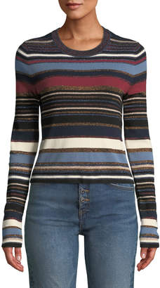 Veronica Beard Palmas Striped Metallic Cropped Sweater
