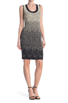 Carmen Carmen Marc Valvo Silver Ombre Scoop Neck Dress