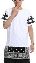 Vikoros Unisex Cashews Hip Hop Side Zip up Extra Long T-shirts