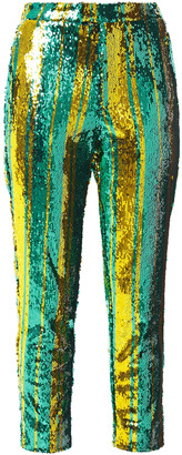 Halpern Cropped Sequined Tulle Tapered Pants