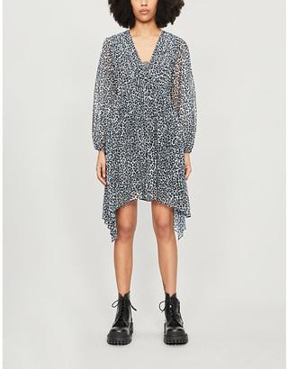 The Kooples Leopard-print V-neck crepe mini dress