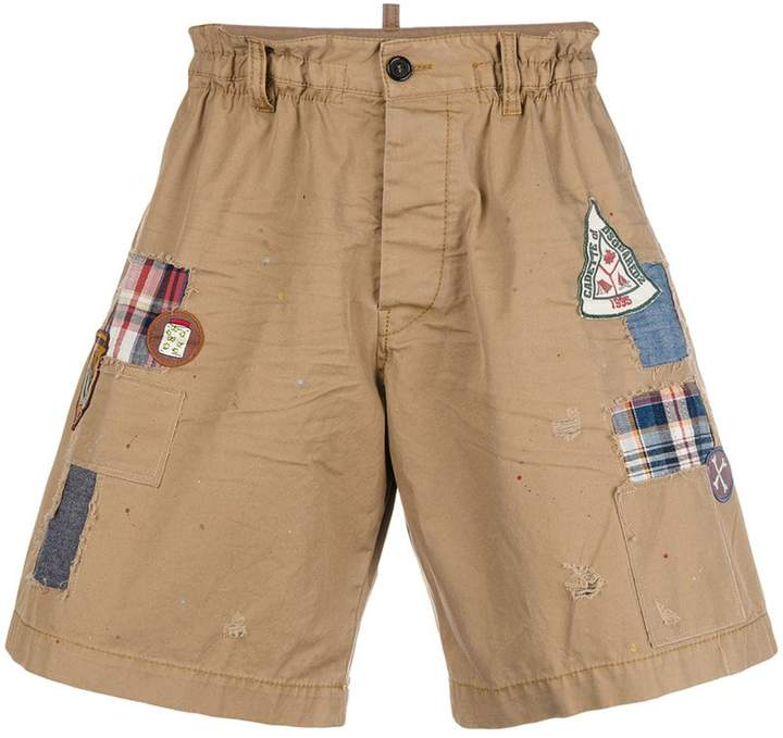 DSQUARED2 patchwork and appliqué shorts