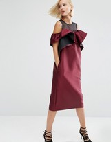 Asos Off Shoulder Dress With Organza Panel