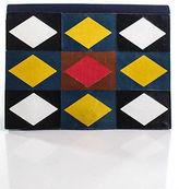 Saint Laurent Blue Canvas Leather Trim Colorblocked Structured Small Clutch