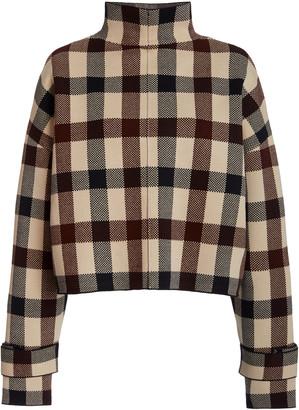 Victoria Victoria Beckham Cropped Plaid Funnel-Neck Jacquard Sweater