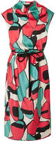 Marc Jacobs Belted Draped Printed Silk-twill Midi Dress - Pink