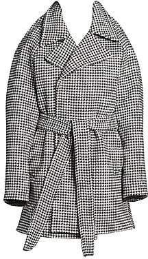 Balenciaga Women's Pinched Houndstooth Wool & Cashmere Wrap Jacket