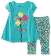 Kids Headquarters Baby Girls Flower Tee and Leggings Set