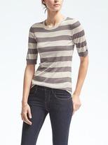 Banana Republic Stripe Silk Cashmere Elbow-Sleeve Pullover