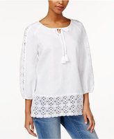 Charter Club Linen Crochet-Trim Peasant Top, Only at Macy's