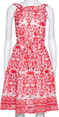 Carolina Herrera Red & White Floral Print Cotton Sleeveless Dress L