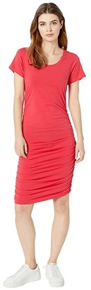 bobi Los Angeles Short Sleeve Shirred Dress in Modal Jersey (Black) Women's Dress