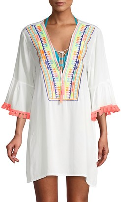 La Moda Clothing Embroidered Bell-Sleeve Coverup
