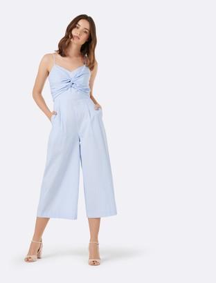 Forever New Harriet Twist Front Stripe Jumpsuit - Blue Stripe - 14