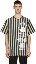 Kokon To Zai Black & Beige Striped Logo T-Shirt