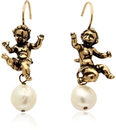 Alcozer & J Naughty Children Gold Plated Brass and Glass Pearl Earrings