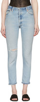 RE/DONE Re-done Blue High-rise Ankle Crop Destruction Jeans