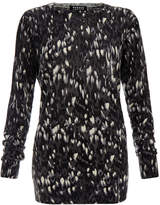Markus Lupfer Natalie Abstract Grey Floral Merino Wool Sweater