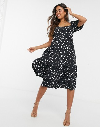 Glamorous milk maid midi dress with pleated hem in black and white splodge