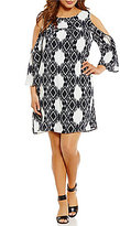 Gibson & Latimer Plus Ikat Print Cold-Shoulder Dress