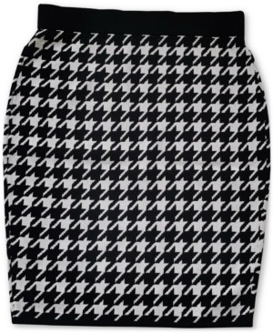 Bar III Houndstooth Sweater Skirt, Created for Macy's