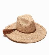 Ale By Alessandra Zenyatta Straw Panama Hat w/ Braided Raffia Band, Natuaral/Brown